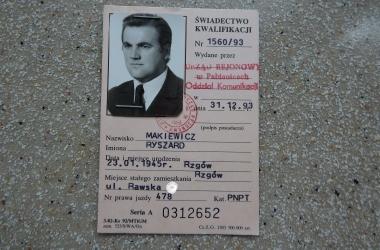 Świadectwo kwalifikacji zawodowych Ryszarda Makiewicza.